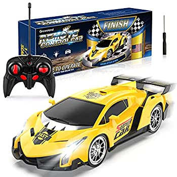 Growsland Remote Control Car RC Cars Xmas Gifts for Kids 1/18 Electric Sport Racing Hobby Toy Car Yellow Model Vehicle for Boys Girls Adults with Lights and Controller