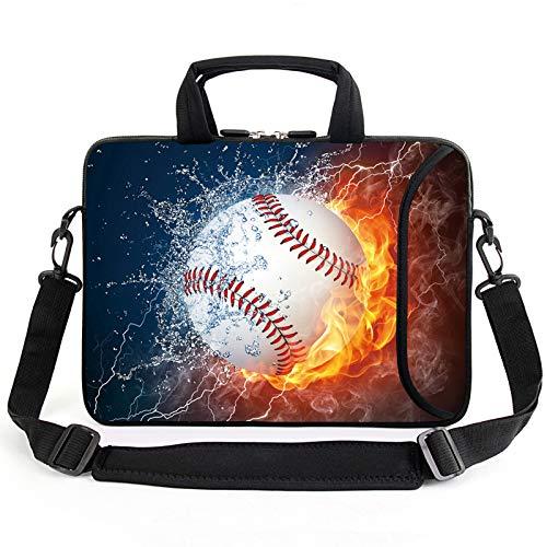 AMARY 15.4' 15.6'laptop sleeve chromebook case adjustable shoulder strap with handle accessory pocket for men women kids (Baseball)