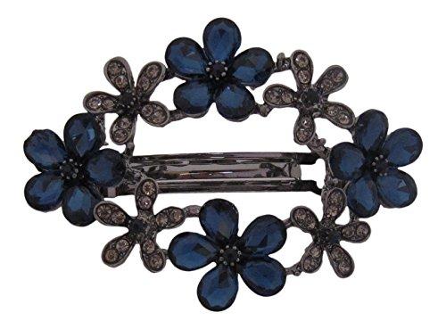 Pick A Gem Hair Accessories Barrette à cheveux multi-fleurs graphite et bleu