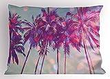Nature Sofa Car Fundas de Colchón Palm Trees Hawaiian Tropic Seashore Beach Californian Miami Sunbeams Image Decorative Standard King Size Printed Funda de Almohada 36 X 20 Inches Fuchsia Purple