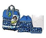 Schneiders Vienna 78346-070 - Schulrucksackset Neo mit Sportbeutel, Schlamperetui und Heftbox, Catch, 4 teilig, Blau, 39 cm