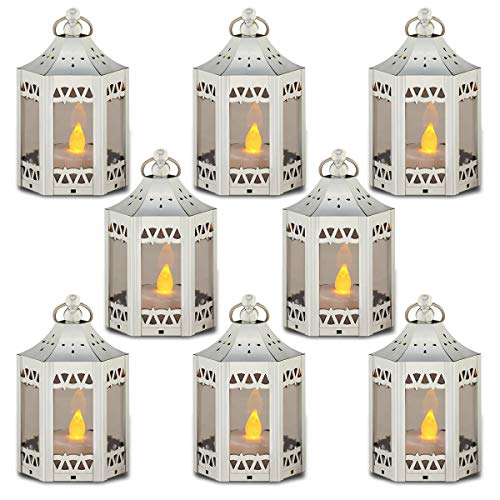 zkee Mini Candle Lantern with Flickering LED,Battery Included,Decorative Hanging Lantern,Christmas Decorative Lantern,Indoor Candle Lantern,Battery Lantern Indoor Use, (Set of 8,Silver) …
