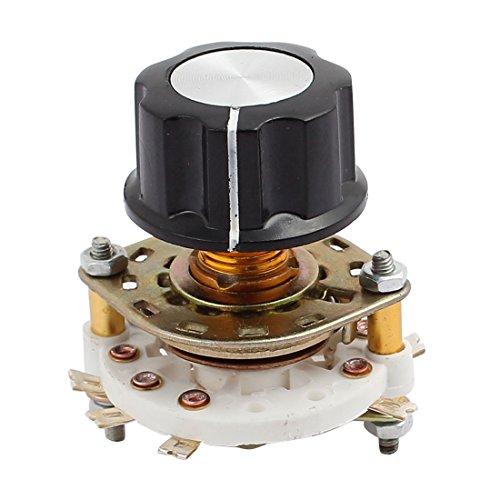sourcing map KCX2*3 2 Polo 3 Posición 6mm de eje Interruptor pulsador rotativo selección de canal de banda w Tapa