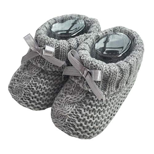 Nursery Time Baby Boys Girls 1 Pair Knitted Booties Soft Newborn Knitted Booties with Bow 116-354 (Grey)