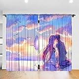 GONGYPND Sword Art Online - Juego de 2 cortinas opacas con aislamiento térmico (150 x 172 cm), diseño de cortina de muebles