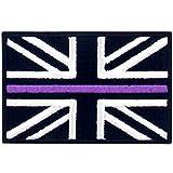 Dünne lila Linie UK Großbritannien Flagge Bestickter Aufnäher zum Aufbügeln/Annähen
