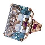 Bangle009, anello con finta acquamarina, regalo per matrimonio, gioiello per festa di fidanzamento, 1, Ocean Blue, US 6