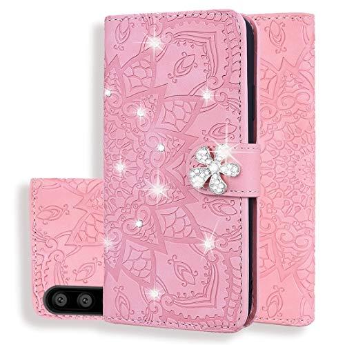 PANCASE Caja protectora Patrón de la pantorrilla Diamond Mandala Diseño plegable doble estuche de cuero repujado con la billetera y el sostenedor y ranuras Compatible for tarjetas Accesorios para tele