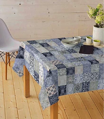 HuleHule Mantel Tela Resinada Antimanchas Estampado Cuadros Azulejos Color Azul Castillo (140_x_100_cm)