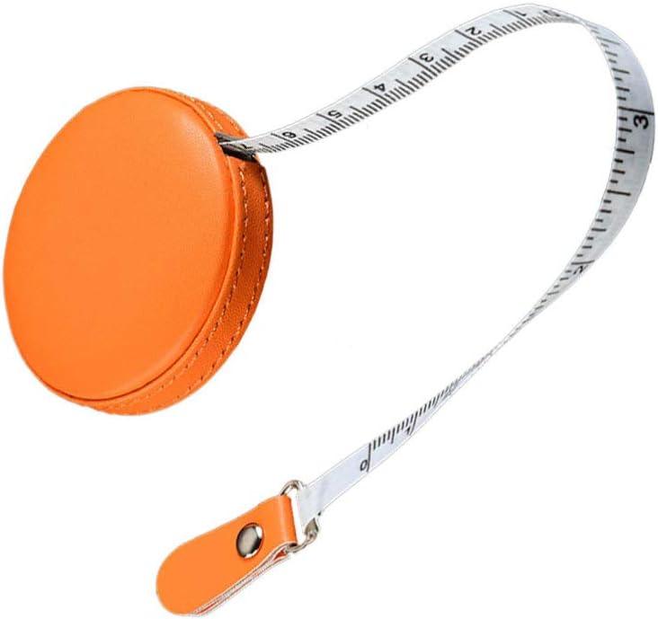 Milisten Ruban /à Mesurer R/étractable /Étui en Cuir Rond 1 M/ètre Ruban /à Mesurer Souple Outil de Mesure de Poche pour Corps Tailleur Tissu Couture Artisanat Orange