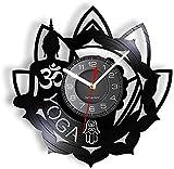 Reloj de Pared con Disco de Vinilo Retro de Yoga de Buda, Adecuado para Estudio de Yoga Budista...