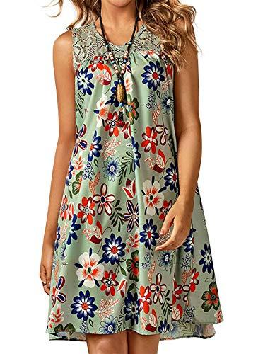 Vera Damen Sommer Freizeit Blumenmuster Boho V-Ausschnitt Strand midi Kleid (L, Grün)