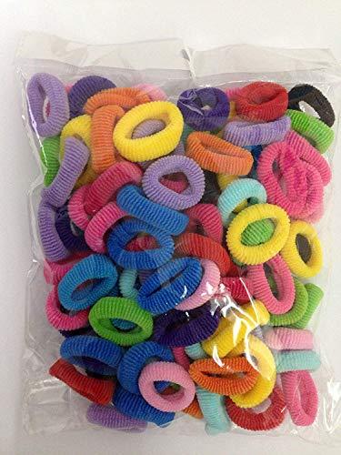 Ogquaton, 100 pezzi, colori assortiti per bambina e bambino, elastici per coda di cavallo, elastici per capelli, elastici in gomma, accessori pratici e popolari