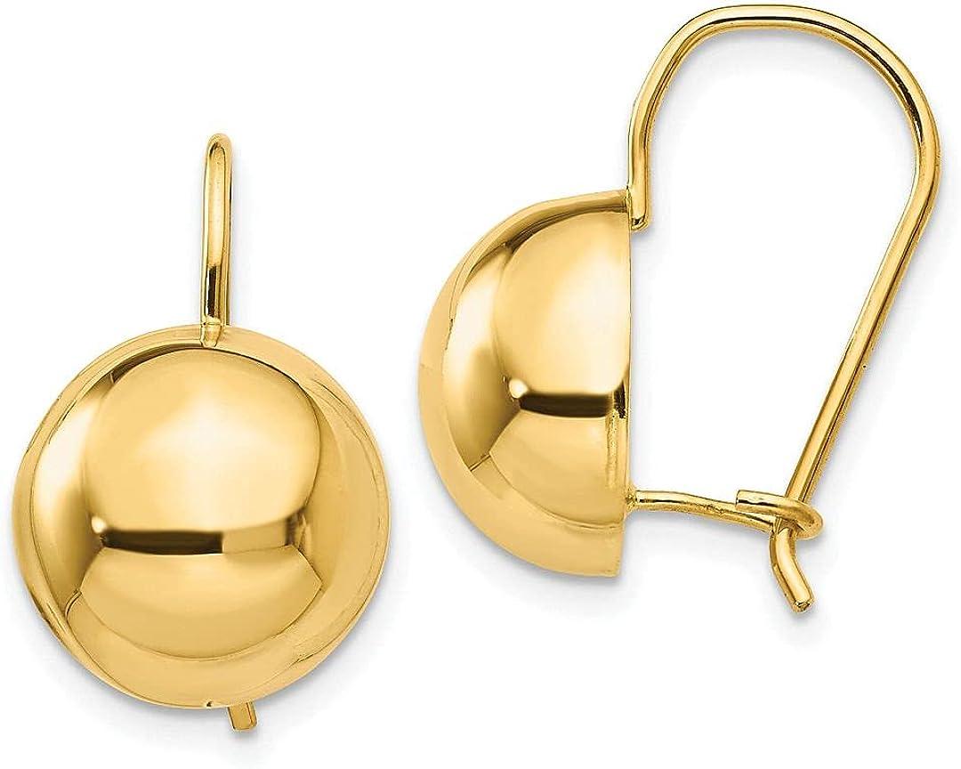 Jewelry-14k 12.00mm Sale item Hollow Half Ball Earrings Max 57% OFF