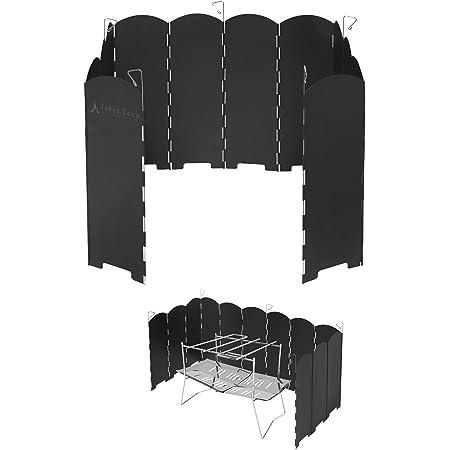TokyoCamp 焚き火台専用 ウインドスクリーン 安定感のあるスチール製 折りたたみ 風防板 アウトドア 風除け 5本ペグ 収納袋付き