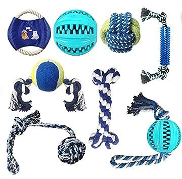 【8 Stücke verschiedene Hundespielzeuge】: Eines Knotens, der Baumwollseilknochen, der Hundeseilball, der zahnreinigende Hundefutterball, eines Seilballs , Chew Rope Toys, Frisbee- und Schlepperspiels, 8pcs Haustierspielzeuge für Hunde, Perfekt mit Ihr...