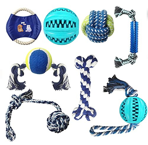 8 Stück Hundespielzeug Kauspielzeug, Zahnbürsten-Stick für Langeweile, langlebige Gummi Spaß interaktives Spielzeug für große und kleine Hunde, ungiftiges Naturkautschuk