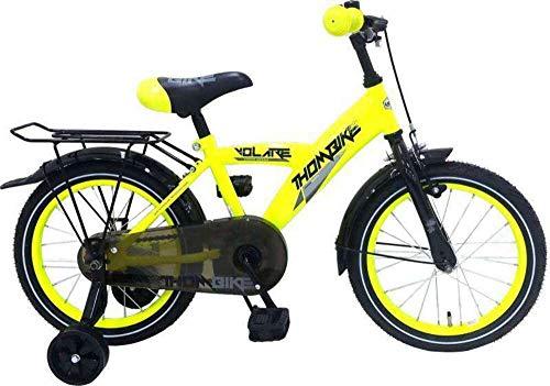 Kinderfahrrad Jungen Thombike 16 Zoll mit Vorradbremse am Lenker und Rücktrittbremse, Stützräder Gelb Neon 95% Zusammengebaut