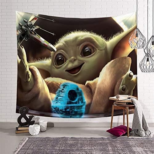 Tapiz para colgar en la pared de Star Wars El niño mandaloriano temporada 2 niños bebé Yoda blanco y negro (150 x 210 cm)