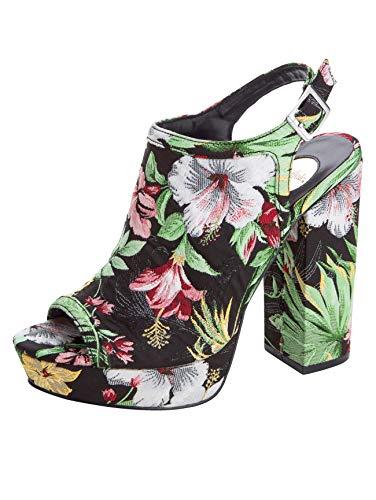Buffalo Schuhe Absatz-Sandalette floral Bedruckte Damen Plateau-Sandale Sommer-Schuhe Freizeit-Schuhe Schwarz/Bunt, Größe:38