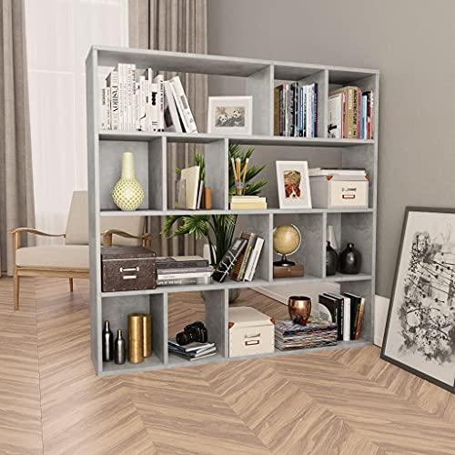 vidaXL Libreria/Divisorio Robusta Elegante Classica Mobile Versatile Mensole Scaffali Espositore Libri Dvd Grigio Cemento 110x24x110 cm in Truciolato