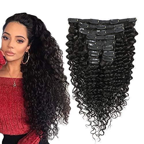 FU SHEN Deep Wave Clip in Human Hair Extensions Wavy Clip ins Hair Remy Human Hair Extension for Black Women Natural Black 10Pcs/120g 10'