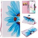 nancencen Kompatibel mit Handyhülle Samsung Galaxy Note 10+ / Note 10 Plus 5G Hülle, Painted Blume PU Leder Tasche Schutzhülle Case [Blaue Blumen]