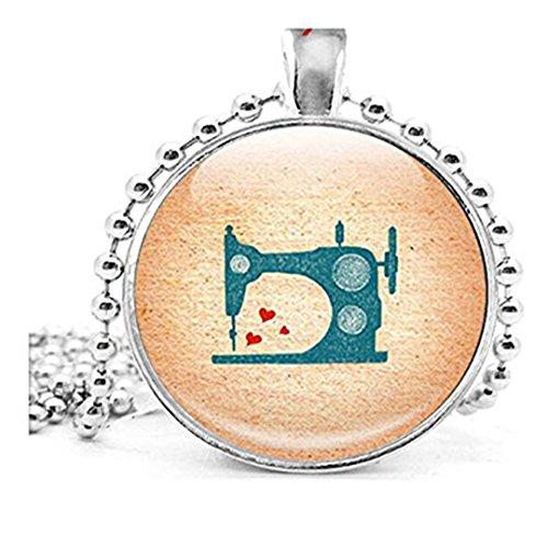 Collar colgante de máquina de coser, foto, moda, para ella, regalos, costurera, cantante, máquina de coser vintage, con cadena