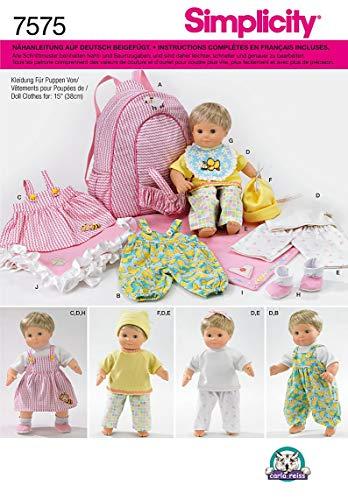 Simplicity Schnittmuster 7575 Puppenkleidung,Decke & Tasche Gr. bis 38 cm