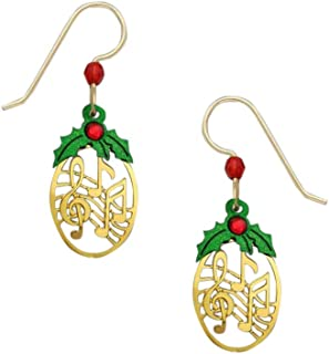 Christmas Holly Musical Note Earrings 1862