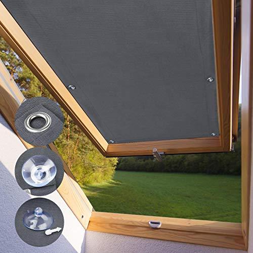 KINLO Dachfensterrollo für Velux Dachfenster 48 x 93cm - F06 Und 206 dunkelgrau Beschichtung Verdunkelungsrollo Sonnenschutzrollo aus Polyester mit Saugnäpfe ohne Bohren 100{2b6363ecf64b6aa5ff096e0790219eab540f61e3043a18a64f489a6a3de2b76c} Blickdicht