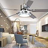 Ventilador De Techo Moderno De Acero Inoxidable De 42'5 Aspas Ventilador De Luz De Techo Remoto De Tres Tonos Lámpara Led Para Dormitorio Sala De Estar Comedor,52 inch