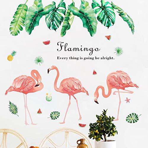 Pegatinas de pared de flamencos de dibujos animados románticos calcomanías murales de pájaros para habitaciones de niños decoración de guardería de dormitorio de bebé