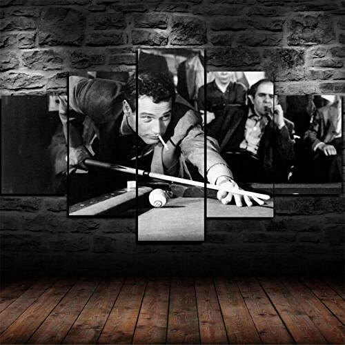 Malqx Impresiones sobre Lienzo Puzzles Enmarcado The Hustler Paul Newman Poster Canvas Print Wall Art Decoración para El Hogar 5 Piezas
