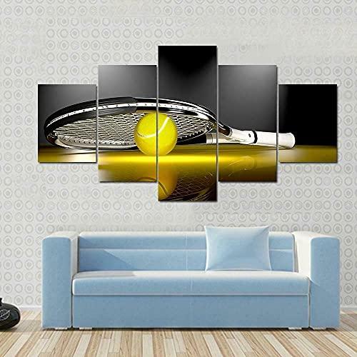 BHJIO 5 Piezas Cuadros Modernos Impresión De Imagen Artística Digitalizada Lienzo Decorativo para Tu Salón O Dormitorio Raqueta De Tenis con Pelota Regalo 150 X 80 Cm.