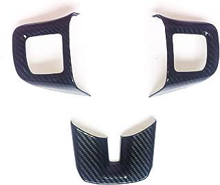 JSTOTRIM Steering Wheel Carbon Fiber Moulding Chrome Cover Trims kit for 2010 2011 2012 2013 2014 Dodge Challenger Charger Dart Accessories