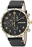 Wenger Men's Attitude Stainless Steel Swiss-Quartz Leather Strap, Black, 21 Casual Watch (Model: 01.1543.111)