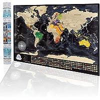Mapa del Mundo Para Rascar, Mapa Detallado con Las Banderas de Los Países 84 x 57cm, Las Ciudades más Grandes y Capitales, El Paquete de Regalo Incluye Una Herramienta Para Rascar, Hecho en la EU