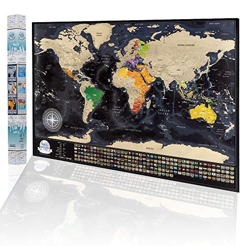Mapa del Mundo Para Rascar, Mapa Detallado con Las Banderas de Los Pases 84 x 57cm, Las Ciudades ms...