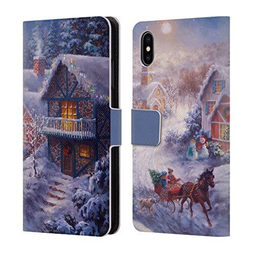 Head Case Designs Offizielle Christmas Mix Nicky Boehme Im Nikolausschlitten Winterlandschaft Leder Brieftaschen Huelle kompatibel mit iPhone XS Max