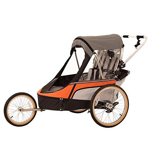 WIKE Premium Double 3 in 1 Bicycle Trailer + Strolling + Jogging - Orange/Gray, Orange/Grey