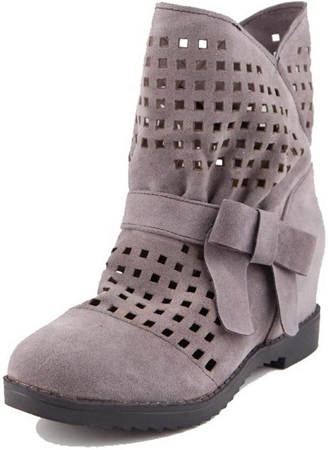 WeiPoot Women's Kitten-Heels Solid Closed-Toe Frosted Pull-On Boots, EGHXH011154