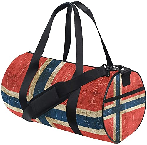 Bolsa de Lona de Gimnasio Bolsa de Lona de Entrenamiento con Bandera Noruega Bolsas de Deporte de Viaje Redondas para Hombres y Mujeres