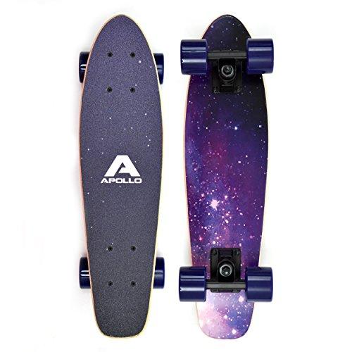 Apollo Wooden Fancy Skateboard, Vintage Cruiser Komplettboard mit und ohne LED Wheels, Größe: 22.5'' (57,15 cm), Farbe: Sternenhimmel/Lila