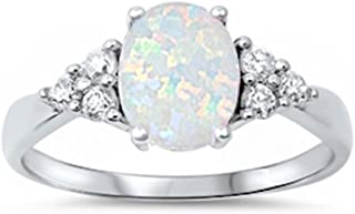 Sterling Silver Oval Lab Created White Opal & White Simulated Diamond Ring Sizes 4-12