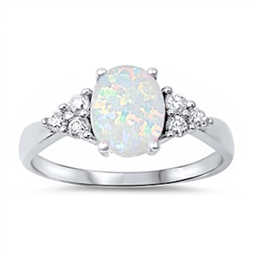 cf6efd57686827 Sterling Silver Oval Lab Created White Opal & White Simulated Diamond Ring  Sizes ...