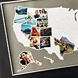 USA Photo Map - 50 States Travel Map - 24 x 36 in - Unframed - Made from Flexible Plastic - Includes Photo Maker