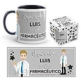 Kembilove Tazas de Café Personalizadas de Profesiones – Taza de Desayuno Aquí Bebe un Gran Farmacéutico con Nombre Personalizado – Tazas de Desayuno para Profesionales – Tazas de 350 ml