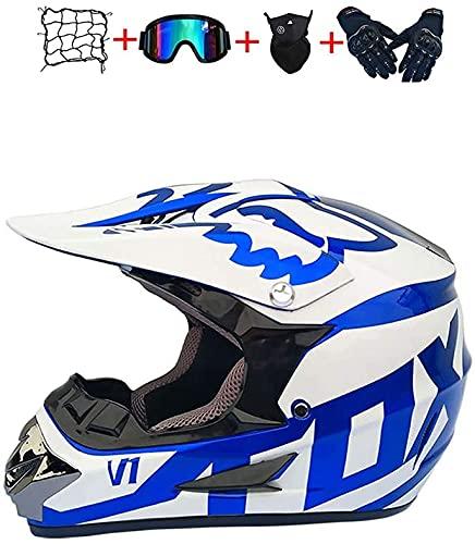 MoreJieka - Casco de motocross para motocicleta y motocross, con gafas y guantes para moto o bicicleta de montaña (talla S: S)