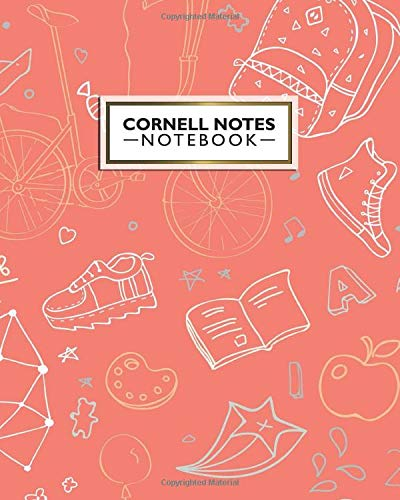 Cornell Notes Notebook: Cute School Time Cornell Note Medium Lined Paper Notebook - Large College Ruled Journal Note Taking System for Students - Nifty Backpacks & Sneakers Print